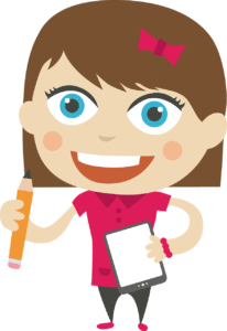 A cartoon girl with pen and paper starting a business